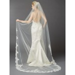 1 Layer Embroidered Cathedral Mantilla Wedding Veil with Dramatic Beaded Lace Edge