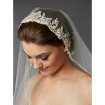 1-Layer Fingertip Bridal Veil with Embroidered Silver Lace Applique Headpiece