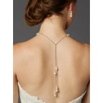 Adjustable Glass Pearl Back Necklace with Lariat Dangles - Handmade USA