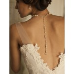 Alluring Wedding Back Necklace with White Pearls & Crystals