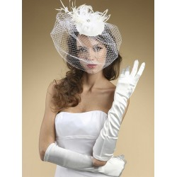 Below Elbow Wedding or Prom Gloves in Shiny Satin