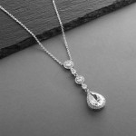 Best-Selling Pear-shaped Drop Bridal Necklace with Pave CZ