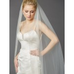 Breathtaking 1 Layer Cathedral Wedding Veil with Dramatic Crystal, Pearl and Beaded Edging