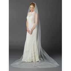 Cathedral Length One Layer Cut Edge Wedding Veil in Ivory