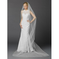 Cathedral Length Single Layer Cut Edge Bridal Veil in White