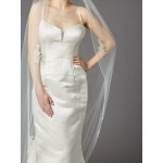 Cathedral Wedding Veil with Silver Embroidered Beaded Lace Appliques & Pencil Edge