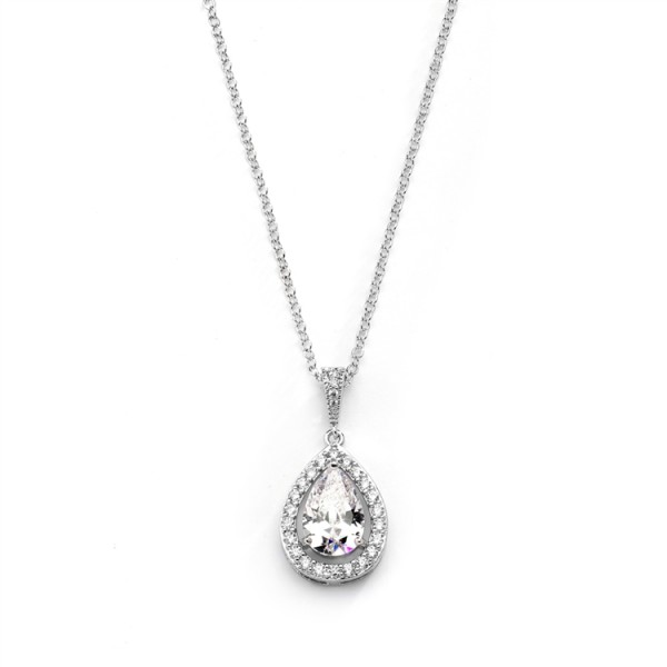 Couture Cubic Zirconia Framed Pear-Shaped Bridal Necklace