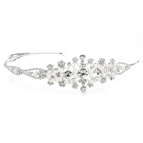 Crystal and White Pearl Starburst Bridal Side Headband