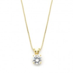 Delicate 14K Gold CZ Round-Cut Necklace with Double Loop Top