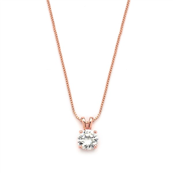 Delicate 14K Rose Gold CZ Round-Cut Necklace with Double Loop Top