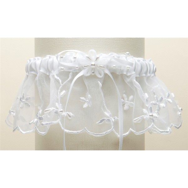 Embroidered Wedding Garters with Rice Pearl Accents - White
