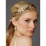 Hand-Enameled Floral Headband Crown with Preciosa Crystal Drapes