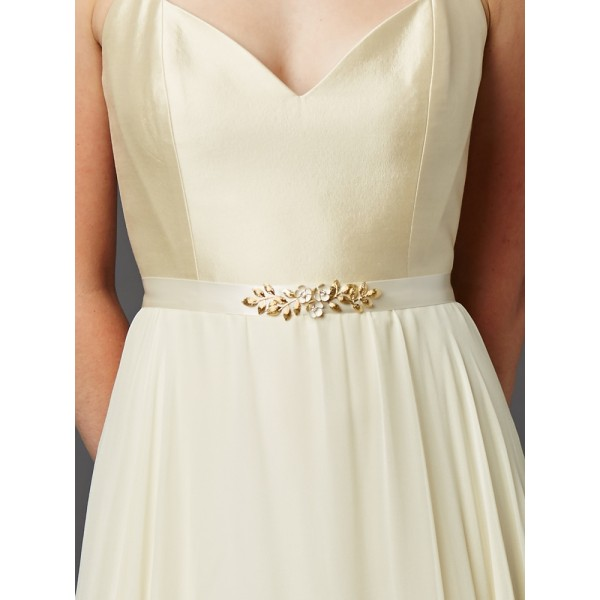 Hand Enameled Tea Rose Designer Bridal Sash Belt in Ivory Gold