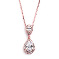 Lustrous Rose Gold Cubic Zirconia Teardrop Wedding Pendant