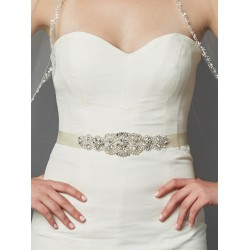 Luxurious Crystal and Pearl Applique Bridal Sash or Belt