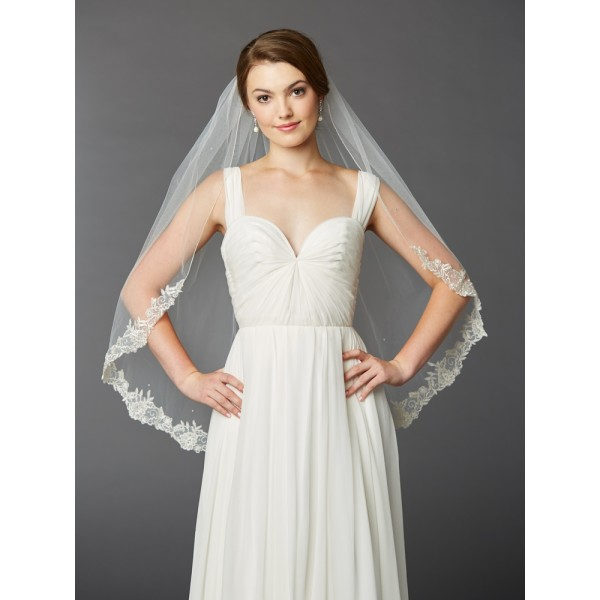One Layer Fingertip Length Mantilla Bridal Veil with Silver Lace Edge & Crystals