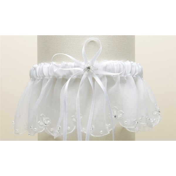 Organza Bridal Garters with Pearls and Chain Edging - White
