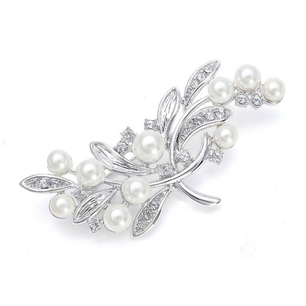 Pearl Bridal Brooch with CZ Leaves