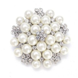 Pearl Cluster Bridal Brooch with Crystal