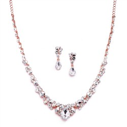 Regal Rose Gold Crystal Bridal or Prom Necklace & Earrings Set