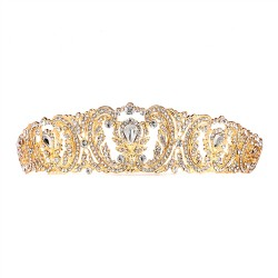 Retro Chic Vintage Gold Wedding Tiara with Pave Crystals