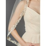 Rum Pink Fingertip Length Mantilla with Embroidered Lace Edge 1-Tier