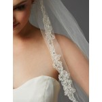 Sculpted Lace Edged Fingertip Length Mantilla Wedding Veil with Crystal Accents