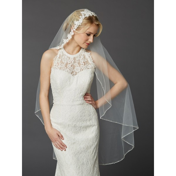 Semi-Waltz Ballet Length One Tier Bridal Veil with Beaded Lace Top