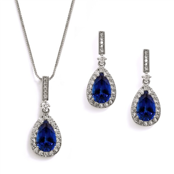"""""""Something Blue"""" Sapphire CZ Pear Shaped Necklace and Earrings Set"""