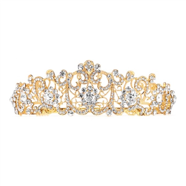 Vintage Bridal, Wedding or Prom Gold Tiara with Clear Crystals