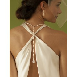 White Pearl & Crystal Long Back Necklaces for Bridal, Bridesmaids & Prom